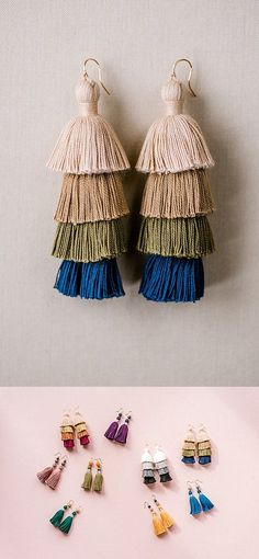 Tassel earrings aren't just for summer! Check out this pair from our tassel collection, with colors that are perfect for autumn & winter fashion! Bridal Earrings, Tassel Earrings, Bridesmaid Jewelry, Bridesmaid Gifts, Black Grey Ombre, Winter Wardrobe Essentials, Layered Jewelry, Fall Jewelry, Minimalist Earrings