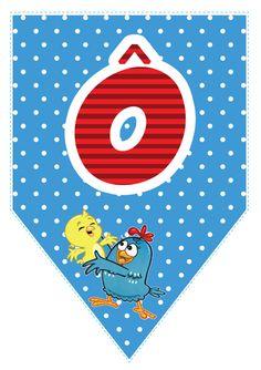 Bandeirinhas da Galinha Pintadinha com o alfabeto, números e acentos para imprimir. Lottie Dottie, Birthday Party Themes, First Birthdays, Outdoor Blanket, Clip Art, Kids Rugs, Printables, Baby Shower, Lettering