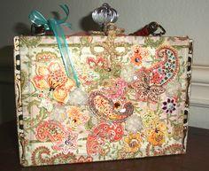 Orange paisley cigar box purse