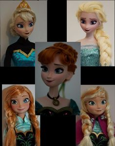 """Disney's """"Frozen"""" doll repaints (very accurate!) by Lulemee."""