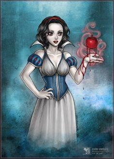 Disney Princess Snow White and Poison Apple Fan Art Dark Disney Art, Snow White Disney, Disney Fan Art, Disney Love, Disney Artwork, Disney Pixar, Arte Disney, Disney Magic, Disney Halloween