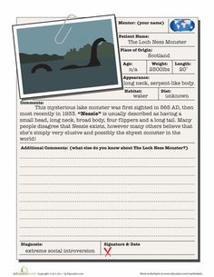 Worksheets: Loch Ness Monster #MythicCreatures