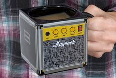 Amp Mug Finally, the caffeine-addicted guitar player has a proper morning drinking vessel, with theAmp Mug.  Designed to look like a vintage amplifier, you can crank up the sugar and cream and get the morning rockin'.