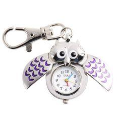 Yesurprise Silver Pendant Pocket Key Ring Cool Purple Owl Quartz Watch Yesurprise. $6.93