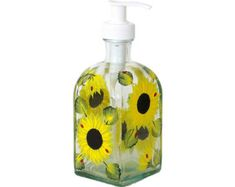 Hand Painted Glass Bottle Dish Soap Dispenser with Pump Sunflowers Hand Painted Glassware Painted Soap Lotion Shampoo Dispensers Flowers