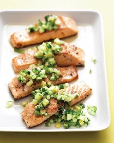 Salmon with Spicy Cucumber-Pineapple Salsa Recipe