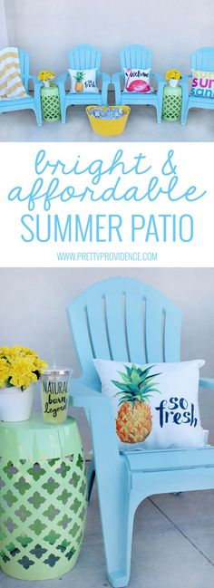 Summer Backyard Decor I love how bright and happy this affordable patio space is! It's amazing how much difference a few cute accents can make to a space! MichaelsMakers Pretty Providence The post Summer Backyard Decor appeared first on Summer Diy. Backyard Patio, Backyard Landscaping, Backyard Furniture, Diy Patio, Wedding Backyard, Diy Porch, Bar Furniture, Landscaping Ideas, Beach Patio
