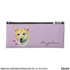 Shiba Inu with Sakura Watercolor Painting Pencil Case. This is a watercolor painting of a shiba inu mix dog with two sakura (cherry blossom) flowers on the side.