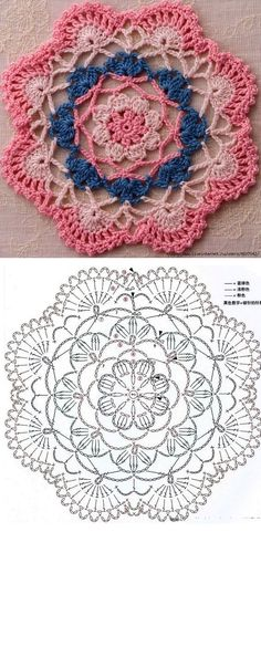 Beautiful crochet mandalas, easy and quick patterns to make Knitting … Crochet Mandala Pattern, Crochet Circles, Crochet Doily Patterns, Crochet Chart, Crochet Doilies, Crochet Flowers, Crochet Stitches, Knitting Patterns, Patron Crochet