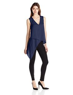 BCBGMAXAZRIA Women's Nikko Asymmetrical Hem Tank, Dark Ink, Medium * Check out the image by visiting the link.
