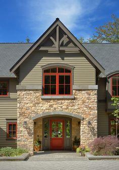 Ideas for farmhouse exterior brick decor Stone Veneer Exterior, Stone Exterior Houses, Modern Farmhouse Exterior, Farmhouse Style, Craftsman Style Decor, Gable Roof Design, Home Improvement Loans, Window Design, Exterior Design