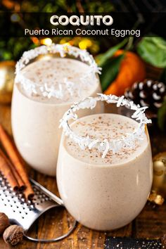 This authentic Coquito recipe is a Puerto Rican tradition that is loaded with coconut, rum, cinnamon and raisins for an extra thick and creamy coconut eggnog. Best Coquito Recipe, Authentic Coquito Recipe, Coquito Recipe Without Eggs, Christmas Cocktails, Holiday Drinks, Holiday Recipes, Family Recipes, Gastronomia, Gourmet