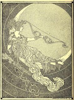 Rainbow gold: poems old and new selected for boys and girls, 1922Illustrations Dugald Stewart WalkerQueen and Huntress, chaste and fair, Now the sun is laid to sleep,Seated in thy silver chair, State in wonted manner keep: Hesperus entreats thy light, Goddess excellently bright.