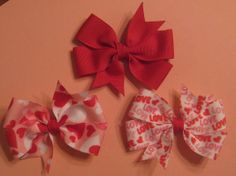 Set of Three 3 Inch Pinwheel Style Valentines Day Bows by EmzBowz, $6.75