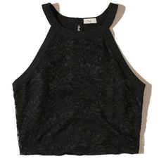 Hollister High-Neck Lace Crop Top (€15) ❤ liked on Polyvore featuring tops, crop tops, shirts, crops, tank tops, black, cropped tops, shirt crop top, cut-out crop tops and stretch crop top
