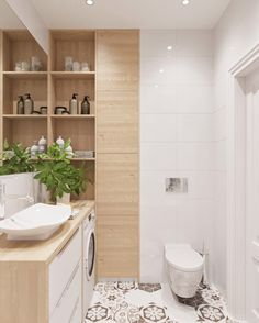 There are plenty of ways you can sneak in extra storage in a cabinet-less bathroom. If you need inspiration, here are some solutions. Bathroom Interior Design, Home Interior, Modern Interior, Contemporary Bathrooms, Modern Bathroom, Small Bathroom, Laundry Room Bathroom, Bathroom Storage, Bad Inspiration