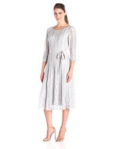 Alex Evenings Womens TLength Dress with Tie Belt and Panel Detail Platinum 16 -- Continue to the product at the image link.