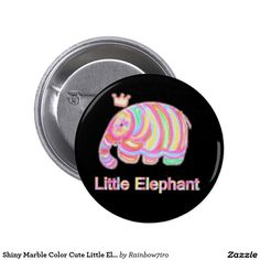 Shiny Marble Color Cute Little Elaphant Pinback Button