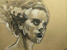 bride of frankenstein elsa manchester colored pencil original art