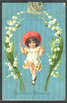 Cute Victorian Girl Swing Lily of The Valley Embossed 1906   eBay