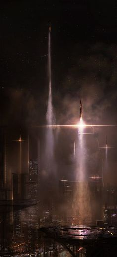 NuMerica joins 'the war to regain earth' (c.3500 AD). Rockets launched from Old New York.  Future City, Sci-Fi, by Alex Figini