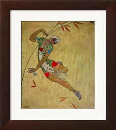 """Nijinsky in the Role of the Negro Slave in the Ballet """"Scheherazade"""" by Rimski-Korsakov 1912 Giclee Print by Georges Barbier at Art.co.uk"""