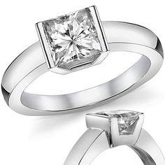 Semi-Bezel Square Brilliant Modern Style Solitaire Ring