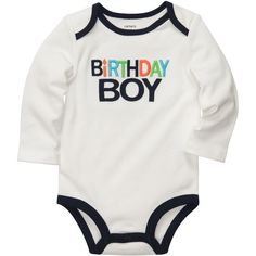 Long-Sleeve Birthday Boy Bodysuit baby boy ❤ liked on Polyvore featuring baby and kids
