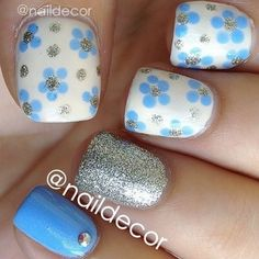 Silver, blue and white flowers