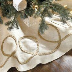 Looped Burlap Tree Skirt | Ballard Designs