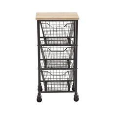 Anywhere Three-Drawer Metal Storage Cart | dotandbo.com