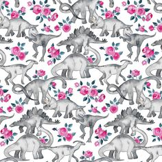 Dinosaur Fabric  Tiny Dinosaurs And Roses On White by Spoonflower