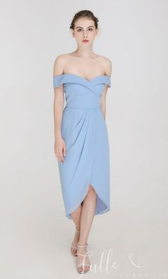 Off the shoulder Midi Dress with Draped Tulip Skirt TBQP530#wedding #weddinginspiration #bridesmaids #bridesmaiddresses #bridalparty #maidofhonor #weddingideas #weddingcolors #tulleandchantilly How Many Bridesmaids, Tulip Skirt, Blue Bridesmaid Dresses, Your Girl, Maid Of Honor, Dress For You, Weddingideas, Wedding Colors, Tulips