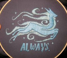 """""""Always"""" Harry Potter hoopla - NEEDLEWORK -- love this! I think I might prefer the fabric to be a deep dark blue instead of grey. Cross Stitch Harry Potter, Harry Potter Quilt, Cross Stitching, Cross Stitch Embroidery, Cross Stitch Patterns, Always Harry Potter, Hand Embroidery Patterns, Textile Patterns, Sewing Patterns"""