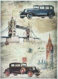Ricepaper for Decoupage Decopatch Scrapbook Craft Sheet A/3 Vintage Trip London