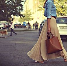Casual pleated maxi denim shirt