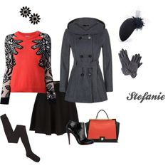 """""""A grey cloud with a silver lining"""" by destitutediva on Polyvore #skaterskirt #winterfashion #sweater #booties #Louboutin"""