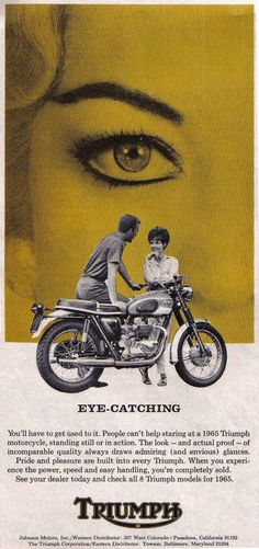 Triumph - catch their eye Bike Poster, Motorcycle Posters, Motorcycle Art, Triumph Motorbikes, Triumph Motorcycles, Triumph Bonneville, British Motorcycles, Vintage Motorcycles, Street Tracker