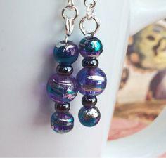 Purple and blue dangle earrings by OnTheWireByMaryJane on Etsy, $15.00
