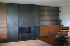 Hot rolled steel fireplace walls mantels and hearths. Custom fireplace screens and facades. Custom Fireplace Screens, Metal Fireplace, Modern Fireplace, Fireplace Surrounds, Fireplace Design, Fireplace Ideas, Cabin Fireplace, Fireplace Mantles, Contemporary Bedroom Decor