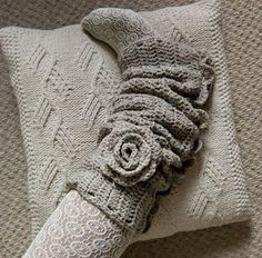 Scrunchy with a Flower.  Would look excellent with fuzzy yarn.  Striped yarn will look cool on the flower.