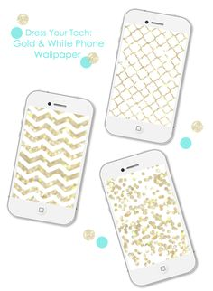 Dress Your Tech: Gold & White Phone Wallpaper by ForChicSake.com #dressyourtech