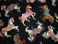 FQ CAROUSEL HORSES FAIRGROUND PONY FABRIC RETRO KITSCH | eBay