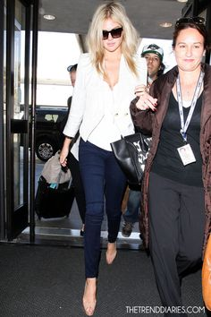 Kate Upton on thetrenddiaries.com Love those sunnies and blazer!! And her hair too..perfect amount of texture!