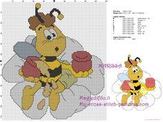 Honey Bee with Honey on Flower