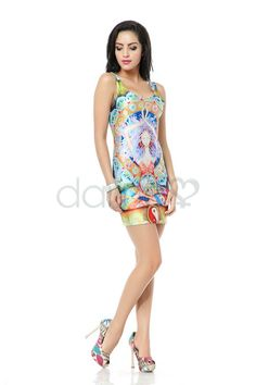 Vintage Druck ärmelloses Elasthan Kleid