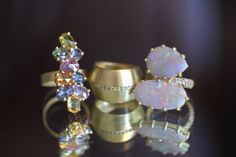 Happy Together! Sapphire Cluster Ring, Diamond Bent Band, and the Double Opal Pavé Band Ring.