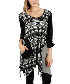 Lily Black & White Geometric Sidetail Tunic | zulily