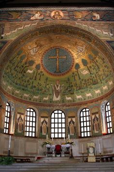 View of the apse with its famous mosaic of the 6th century.