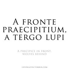 """""""A Precipice in front, Wolves behind""""-latin quote 